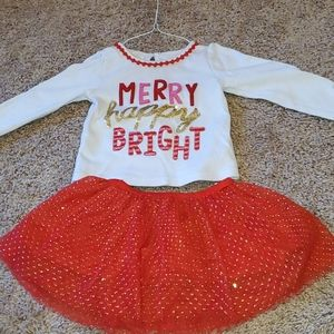 Merry happy bright sweatshirt and skirt